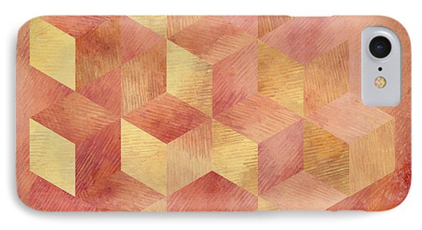 Abstract Red And Gold Geometric Cubes IPhone Case