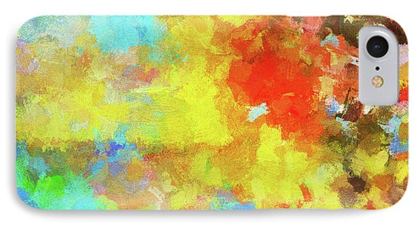 IPhone Case featuring the painting Abstract Seascape Painting With Vivid Colors by Ayse Deniz