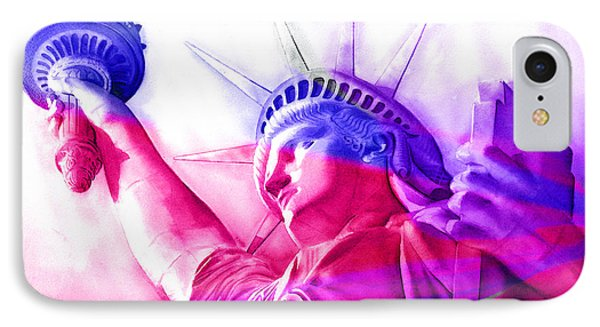 IPhone Case featuring the painting Abstract Statue Of Liberty 7 by J- J- Espinoza