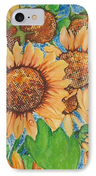 Abstract Sunflowers IPhone Case by Chrisann Ellis