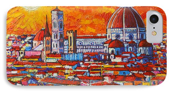 Abstract Sunset Over Duomo In Florence Italy IPhone Case by Ana Maria Edulescu