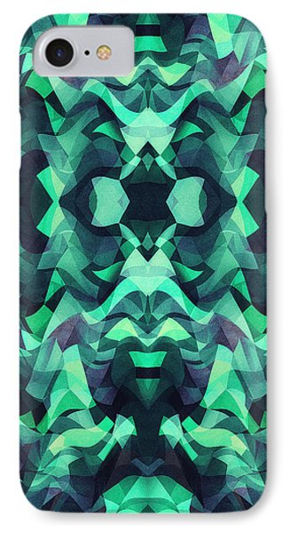 Abstract Surreal Chaos Theory In Modern Poison Turquoise Green IPhone Case by Philipp Rietz