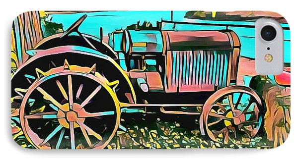 IPhone Case featuring the digital art Abstract Tractor Los Olivos California by Floyd Snyder