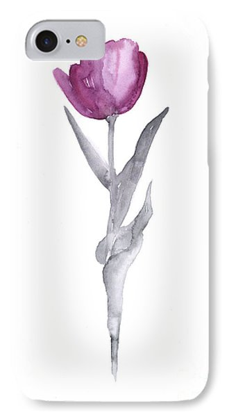 Tulip iPhone 7 Case - Abstract Tulip Flower Watercolor Painting by Joanna Szmerdt