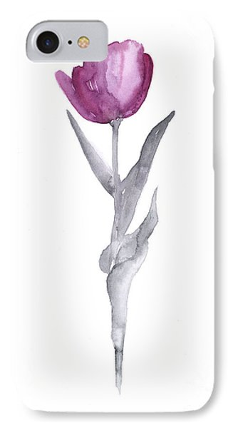 Abstract Tulip Flower Watercolor Painting IPhone Case by Joanna Szmerdt