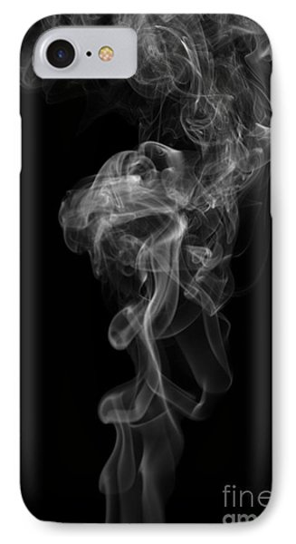 Abstract Vertical Monochrome White Mood Colored Smoke Wall Art 03 IPhone Case by Alexandra K