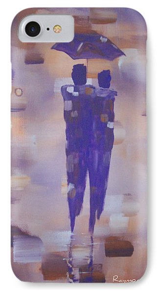 Abstract Walk In The Rain IPhone Case by Raymond Doward