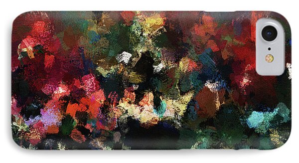 IPhone Case featuring the painting Abstract Wall Art In Dark Colors by Ayse Deniz