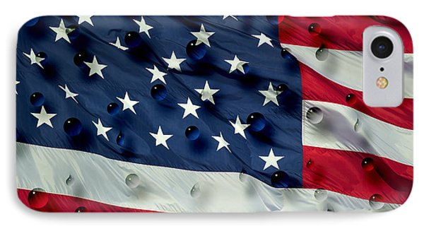 Abstract Water Drops On Usa Flag IPhone Case by Georgeta Blanaru