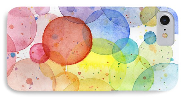 Abstract Watercolor Rainbow Circles IPhone Case by Olga Shvartsur