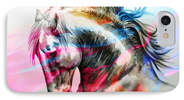 IPhone Case featuring the painting Abstract White Horse 45 by J- J- Espinoza
