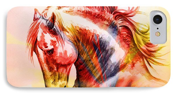IPhone Case featuring the painting Abstract White Horse 46 by J- J- Espinoza