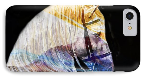 IPhone Case featuring the painting Abstract White Horse 50 by J- J- Espinoza