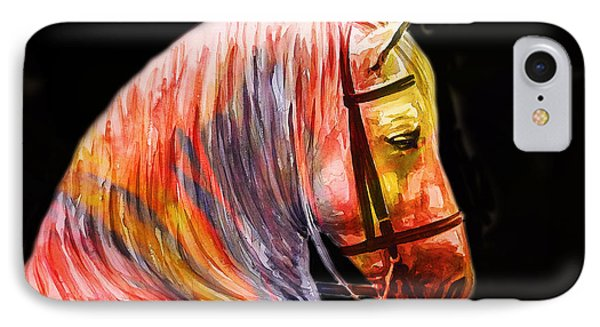 IPhone Case featuring the painting Abstract White Horse 52 by J- J- Espinoza