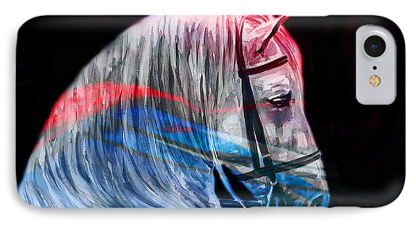IPhone Case featuring the painting Abstract White Horse 53 by J- J- Espinoza