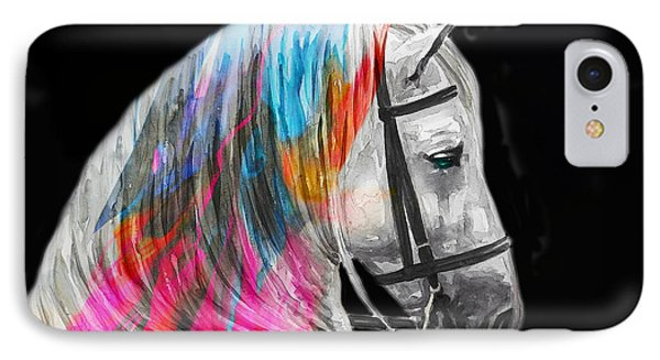 IPhone Case featuring the painting Abstract White Horse 54 by J- J- Espinoza