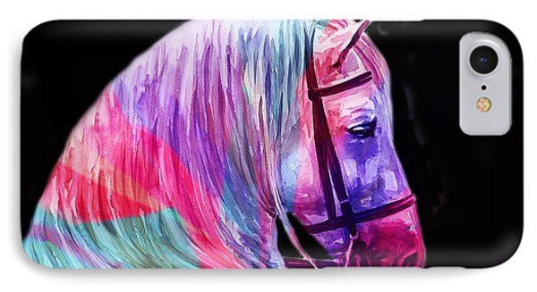 IPhone Case featuring the painting Abstract White Horse 55 by J- J- Espinoza