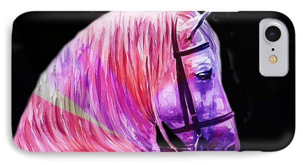 IPhone Case featuring the painting Abstract White Horse 56 by J- J- Espinoza