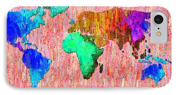 Abstract World Map Colorful 51 - Pa IPhone Case by Leonardo Digenio