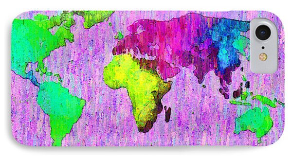 Abstract World Map Colorful 54 - Da IPhone Case