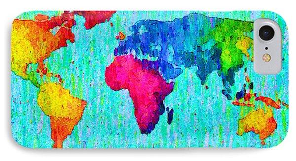 Abstract World Map Colorful 57 - Da IPhone Case by Leonardo Digenio