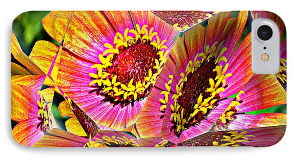 Abstract Yellow Flame Zinnia IPhone Case by Kathy Kelly