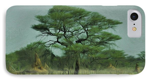 IPhone Case featuring the digital art Acacia Tree And Termite Hills by Ernie Echols