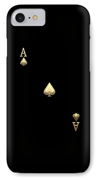 Ace Of Spades In Gold On Black   IPhone Case by Serge Averbukh