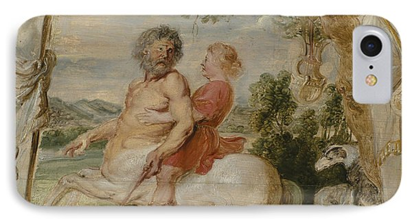 Achilles Educated By The Centaur Chiron IPhone Case by Peter Paul Rubens