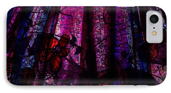 Acid Rain With Red Flowers Phone Case by Rachel Christine Nowicki