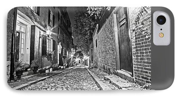 Acorn Street Autumn Boston Mass Street Light Black And White IPhone Case