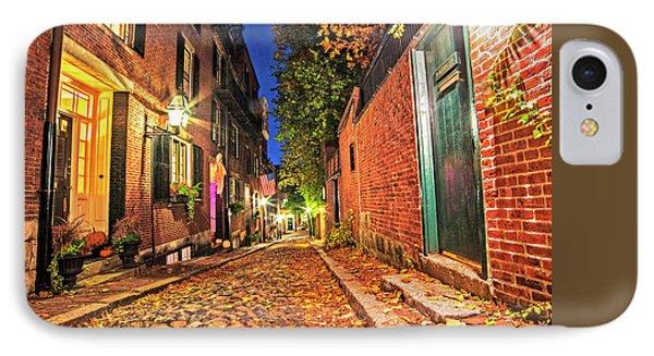 Acorn Street Autumn Boston Mass Street Light IPhone Case by Toby McGuire