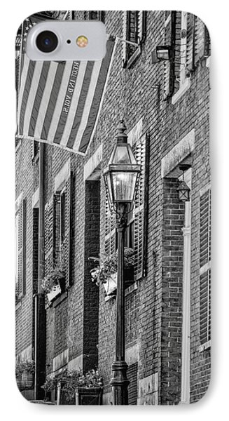 Acorn Street Details Bw IPhone Case by Susan Candelario