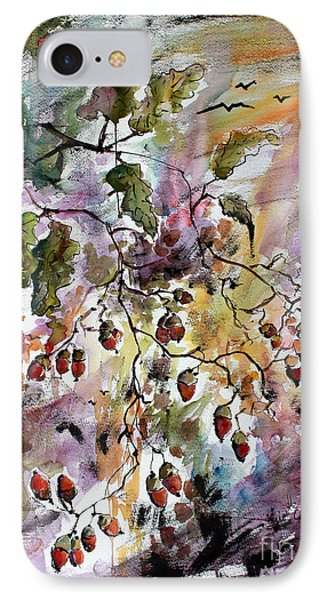 IPhone Case featuring the painting Acorns Autumn Expression by Ginette Callaway
