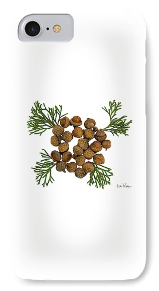 IPhone Case featuring the digital art Acorns With Cedar by Lise Winne