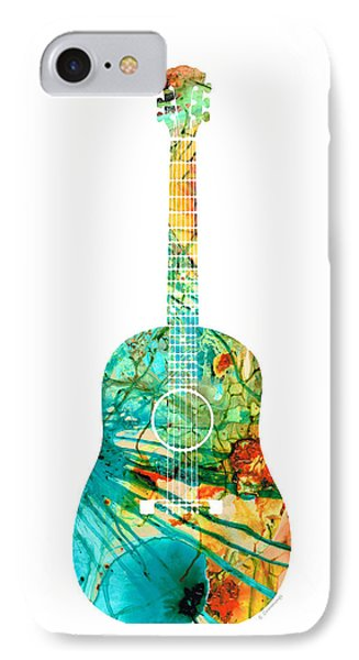 Acoustic Guitar 2 - Colorful Abstract Musical Instrument IPhone Case by Sharon Cummings