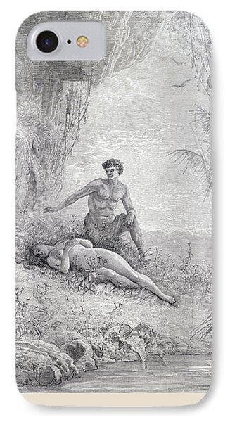 Adam And Eve IPhone Case by Gustave Dore
