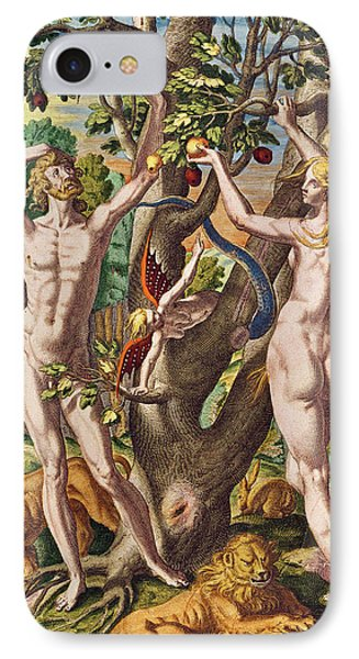 Adam And Eve IPhone Case by Theodore de Bry