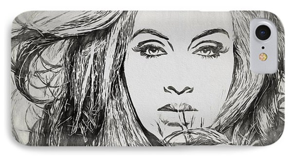 Adele Charcoal Sketch IPhone 7 Case by Dan Sproul