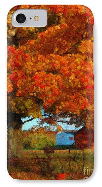 IPhone Case featuring the painting Adirondack Autumn Color Brush by Diane E Berry