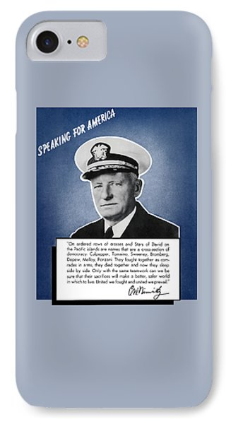 Admiral Nimitz Speaking For America IPhone Case by War Is Hell Store