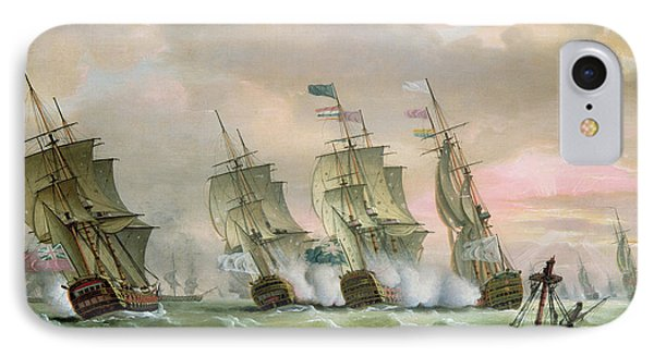 Admiral Sir Edward Hawke Defeating Admiral De Conflans In The Bay Of Biscay Phone Case by Thomas Luny