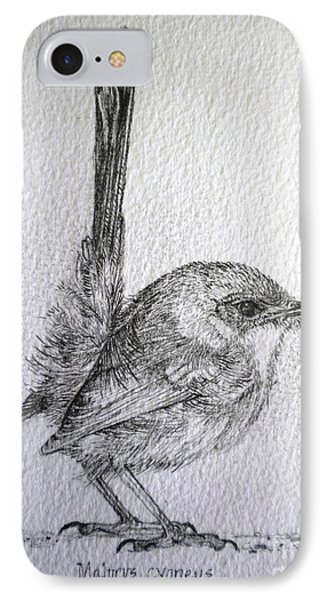 IPhone Case featuring the drawing Adolescent Blue Wren by Sandra Phryce-Jones