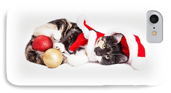 Adorable Christmas Calico Santa Kitty IPhone Case by Susan Schmitz