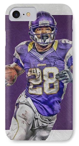 Adrian Peterson Minnesota Vikings Art 4 IPhone Case by Joe Hamilton