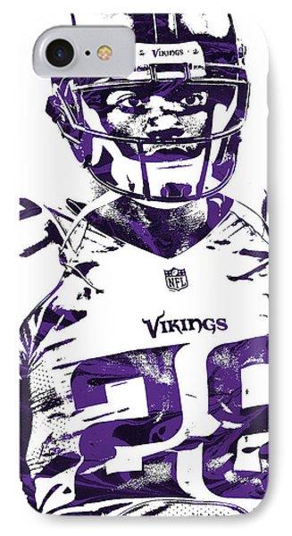 IPhone Case featuring the mixed media Adrian Peterson Minnesota Vikings Pixel Art 2 by Joe Hamilton
