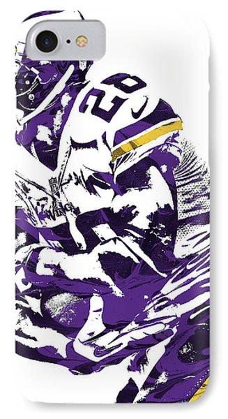 IPhone Case featuring the mixed media Adrian Peterson Minnesota Vikings Pixel Art by Joe Hamilton