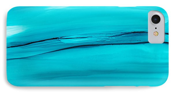 IPhone Case featuring the painting Adrift In A Sea Of Blues Abstract by Nikki Marie Smith