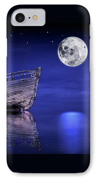 IPhone Case featuring the photograph Adrift In The Moonlight - Old Fishing Boat by Gill Billington
