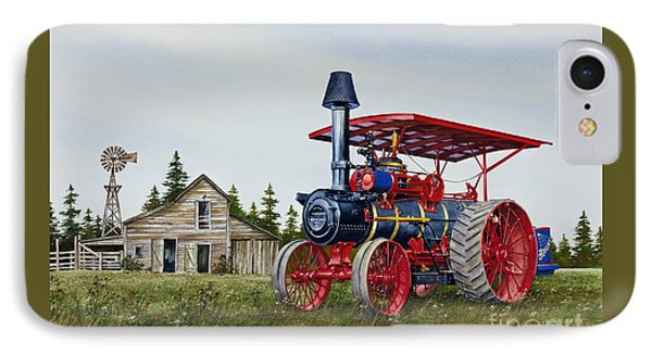 IPhone Case featuring the painting Advance Rumely Steam Traction Engine by James Williamson